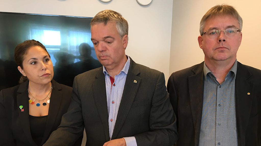 Från vänster Andrea Bromhed (MP), Jonas Holm (M) och Mikael Löthstam (S).
