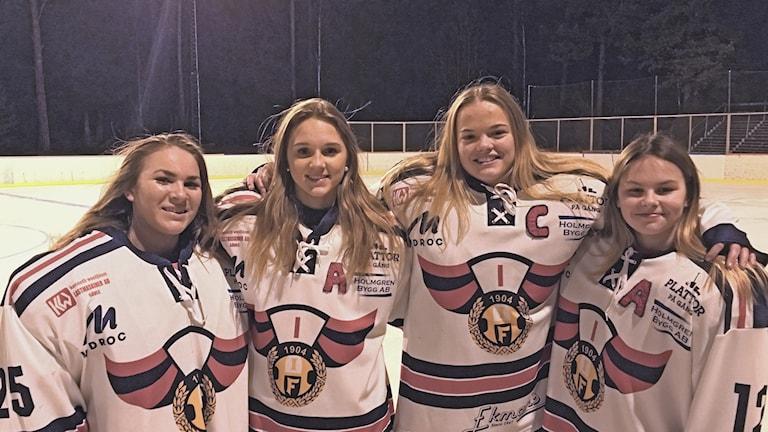 damjuniorerna hockeytjejer hedesunda Wilma Westblom, Thea Lööf, Isaac Östlund, Emma Valleräng och Ida Ekman