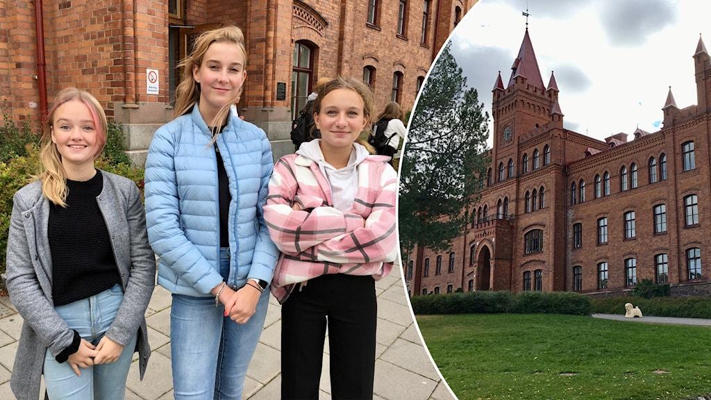 tre niondeklassare på vallbacksskolan utanför skolan