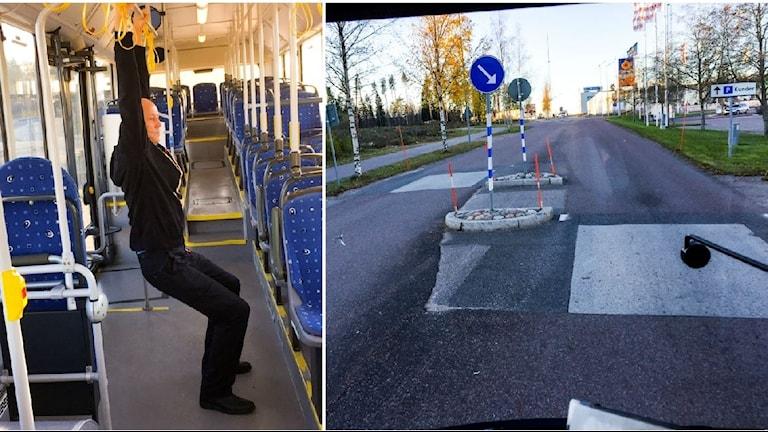 Göran Karlsson på linje 14 i Gävle känner av vägbulornas effekter i ryggen.