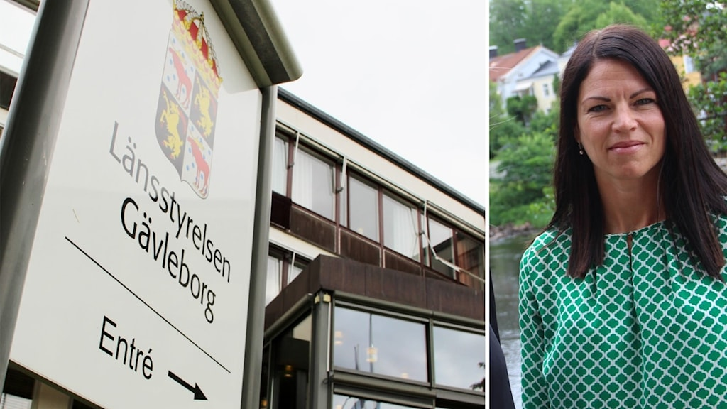 Vänster skylt på länsstyrelsen gävleborg, höger en kvinna.