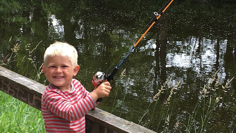 Amandus har fått följa med pappa Robert Johansson och fiska i Gavleån. Jag har fått en stor fisk en gång, säger han.