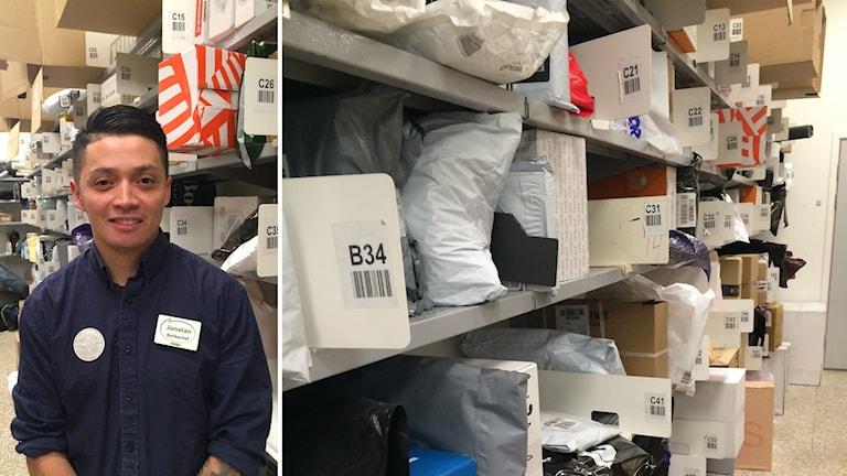 Jonatan Espinoza, butikschef på Konsum Eken, har märkt av den ökade näthandeln inför julen.
