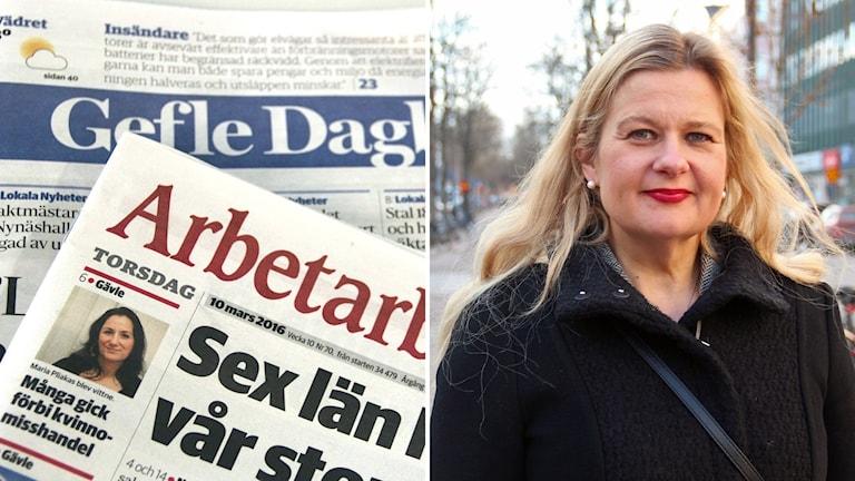 En bild till vänster på pappersupplagorna av Gefle dagblad och Arbetarbladet och en bild på Gefle dagblads chefredaktör Anna Gullberg till höger