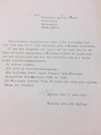 Brevet till Lyndon B Johnson där Metall i Hofors kräver att presidenten ska dra sina trupper ut ur Vietnam