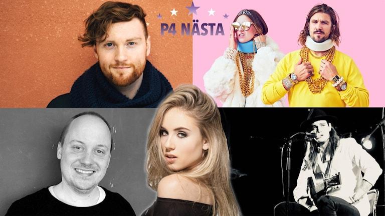 Här är finalisterna i P4 Nästa Gävleborg: Andrew Wild, House of say, Christoffer Olsson, Linda Lind och Petter Hedström.