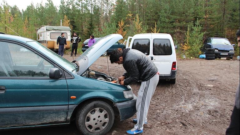 Bild från tidigare när EU-migranterna avhystes från skogen i Sätra.