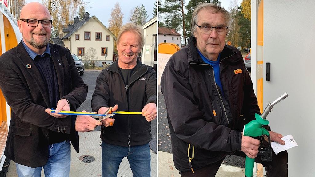 Kommunalrådet Per-Ola Grönberg klipper bandet tillsammans med mackföreståndaren Ilpo Sällinen och ortsbon Ingemar Frohm.