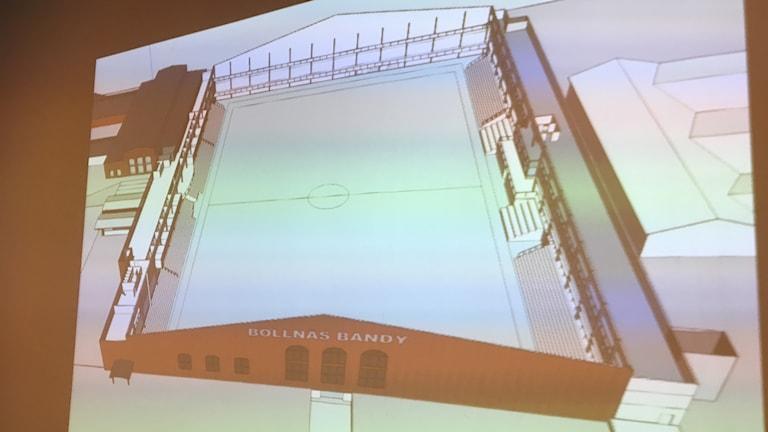 Bollnäs bandy presenterade hur en bandyhall på SJ-området kan se ut. Fasaden påminner om de gamla byggnaderna som står där.