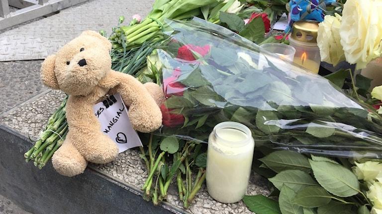 Nallar, ljus och blommor vid Mäster Samuelsgatan i Stockholm