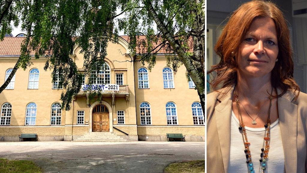 Skolbyggnad - kvinna