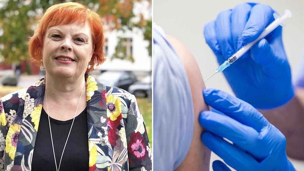 Kvinna i blommig kavaj och rött hår står utomhus. En vaccinatör ger en man en dos vaccin.