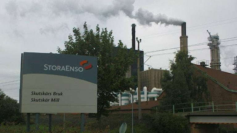 Stora Ensos bruk i Skutskär berörs av varslet. Foto: Joacim Lindwall/Sveriges Radio