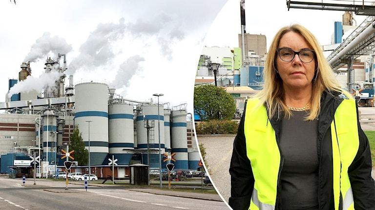 En bild på fabriken i Gävle och fabrikschefen Ing-Marie Andersson Drugge.