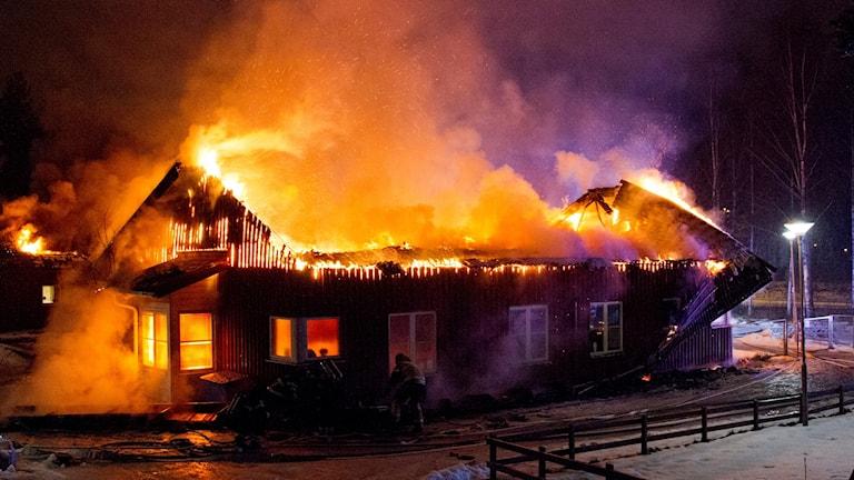 Brand i förskola i Sandviken. Betalbild.