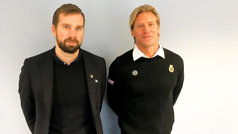 Klubbdirektör Åer Lagerström (t h) tillsammans med Johan Mjällby.