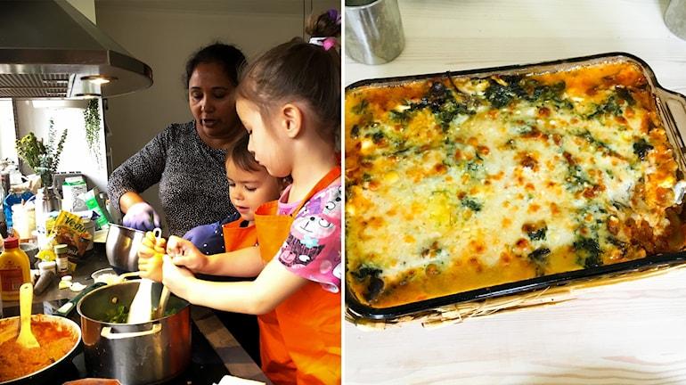 Shashi Berglund, Else och Celeste lagar vegetarisk lasagne.