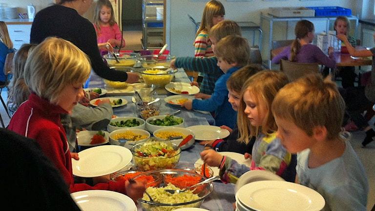 Det ska bli mer närproducerad mat i skolor, förskolor och på äldreboenden i södra Hälsingland. Hasse Persson/Sveriges Radio (arkivfoto)