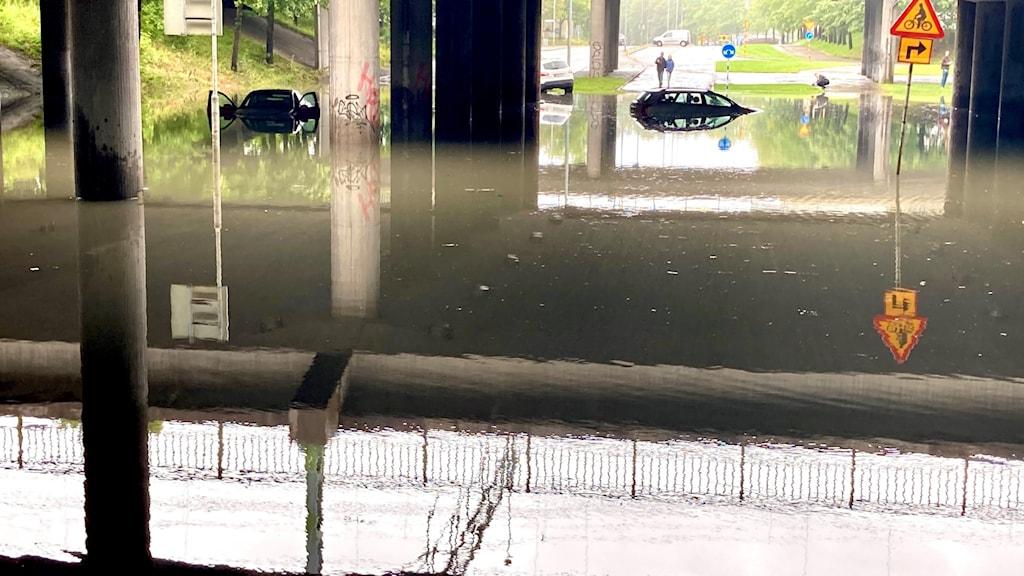 Översvämning Staketgatan Gävle.