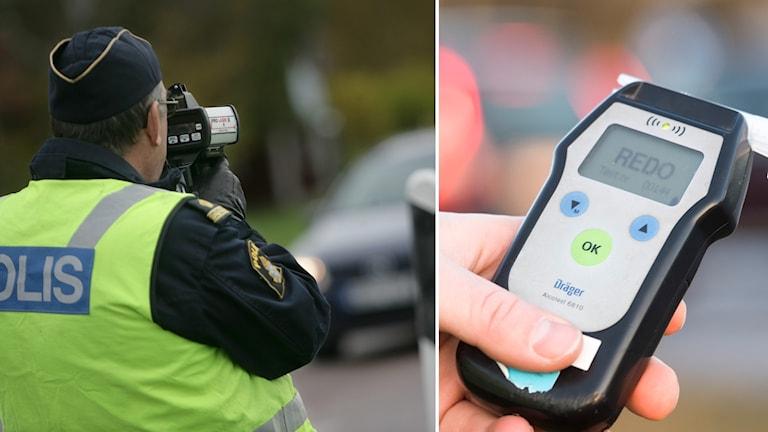 Polis som gör hastighetsmätning och en alkomätare.