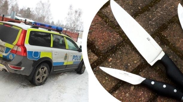 Ett kollage med en stillastående polisbil i snö och några köksknivar på marken.