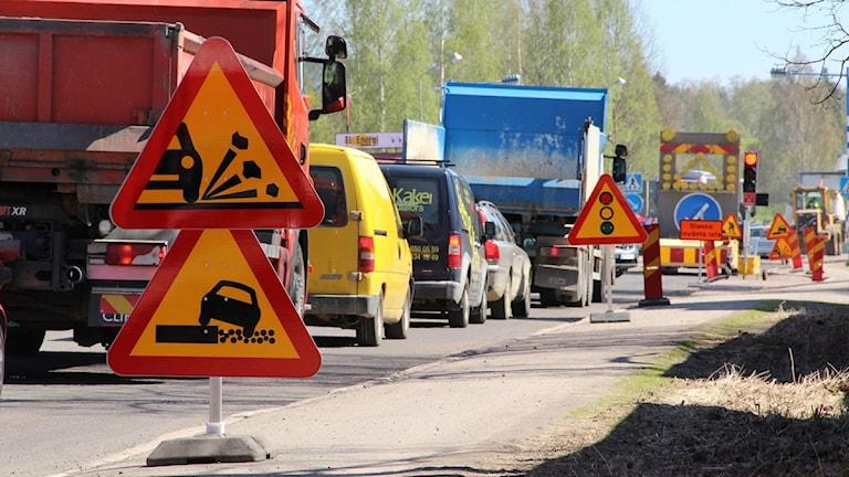 Vägarbete pågår på riksväg 50 i Bollnäs. Foto:Magnus Hansson/Sverigesradio