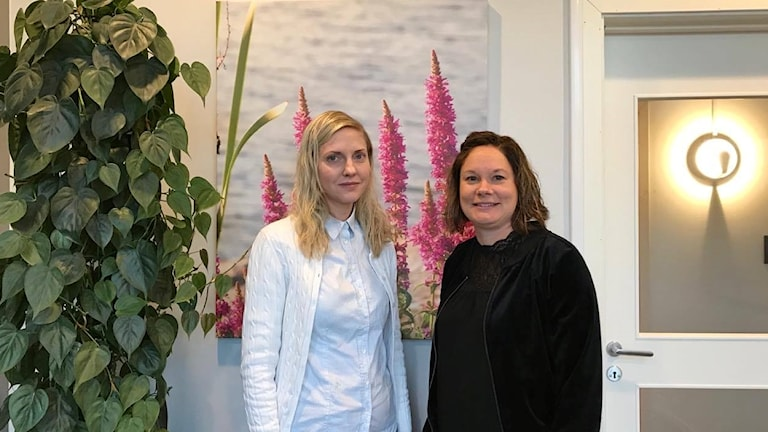 Elisabet Aulenius och Lena Blad står framför en tavla med lupiner och ler.