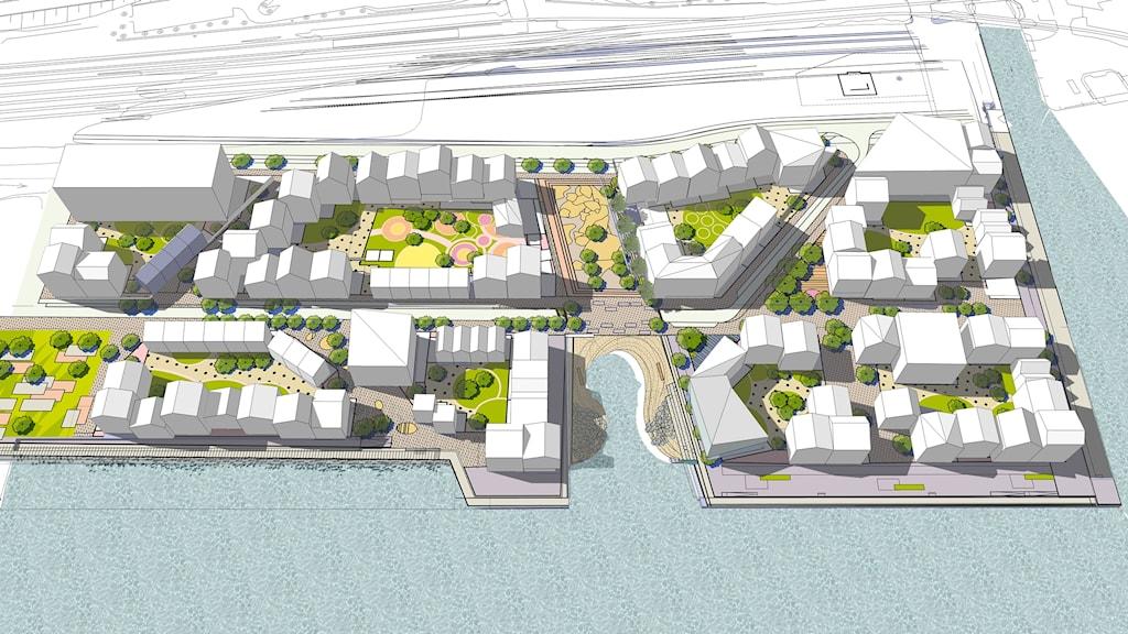 Så kan Kattvikskajen i Hudiksvall se ut i framtiden.