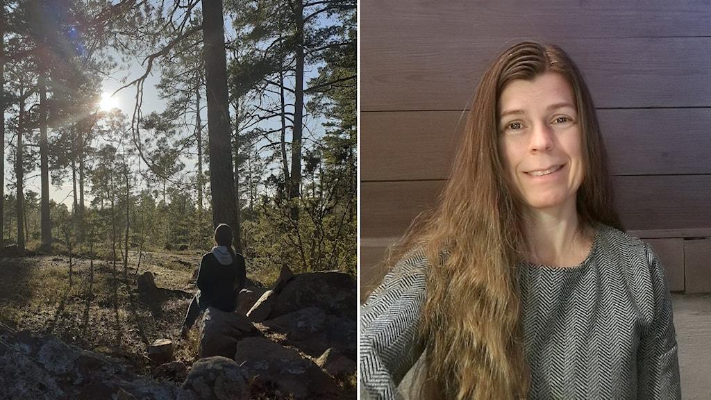 Leende kvinna med långt brunt hår, kvinna sitter i skogen.