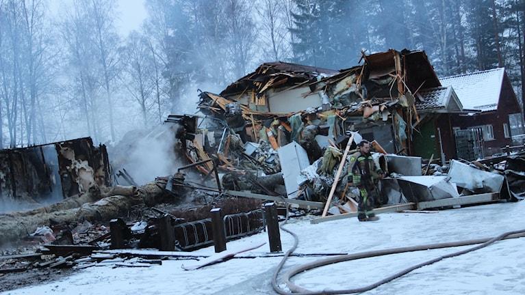 Stora delar av förskolan Solgården i Sandviken förstördes i branden.