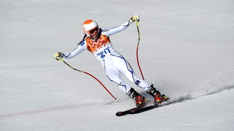Sara Hector jublar efter målgången i OS-störtloppet i Sotji 2014. Foto: Pontus Lundahl/TT