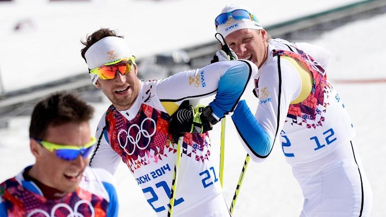 Anders Södergren och Daniel Richardsson efter målgång. Foto: Maja Suslin/TT