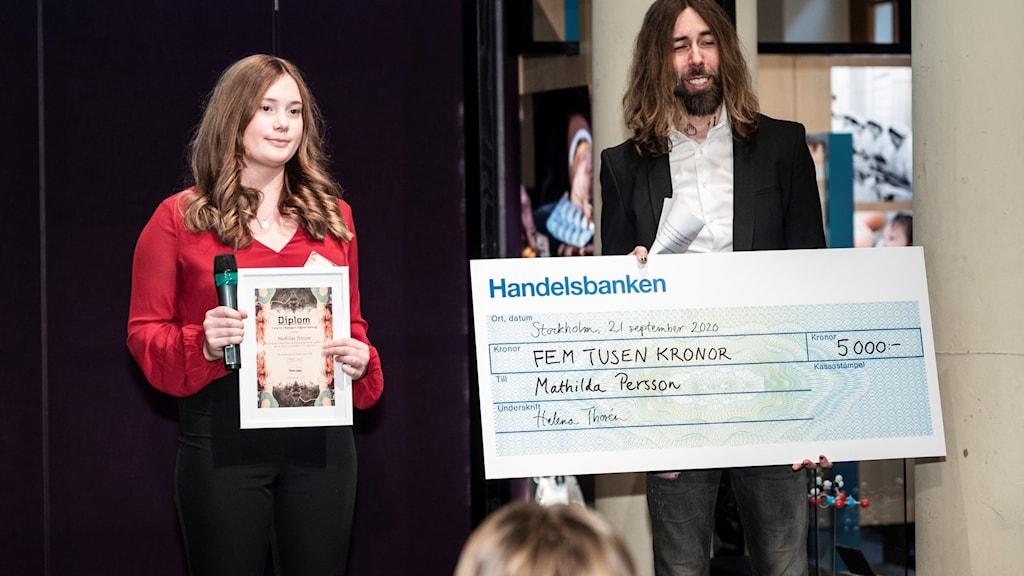 """Mathilda Persson, elev och tävlande i uppfinnartävlingen """"Finn upp""""."""