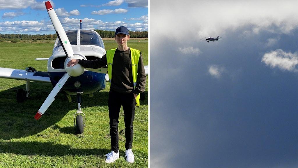 Till vänster den unge piloten Johan Mårtensson framför  ett flygplan vid Västra Gästriklands flygklubb. Till höger ett litet plan högt uppe bland molnen.