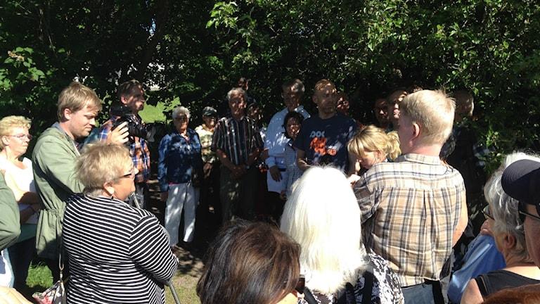 Många har engagerat sig kring äppelträdet i Sofiaparken i Gävle. Foto: Anna-Karin Lampou / Sveriges Radio