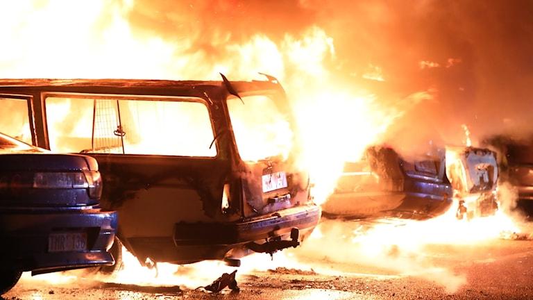 16 bilar brann i Andersberg i Gävle natten mot fredagen.