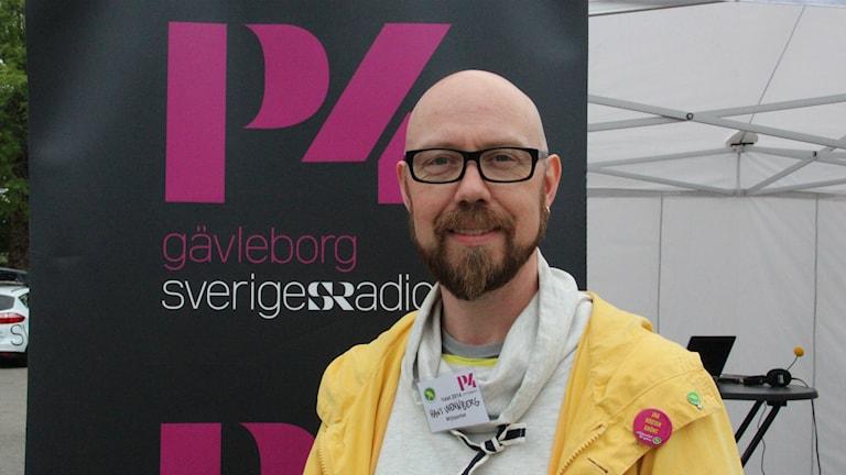 Hans Wennberg (MP) debatterar i Älvkarleby. Foto: Maria Zander/Sveriges Radio