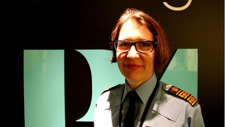Christina Forsberg, länspolismästare, var i studion och pratade om narkotikasituationen i Gävleborg. Foto: Fredrik Björkman/Sveriges Radio