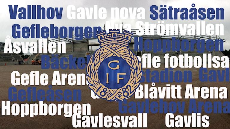 Här är några av namnförslagen på nya arenan. Foto: Martin Svensson / Sveriges Radio Montage: Sveriges Radio