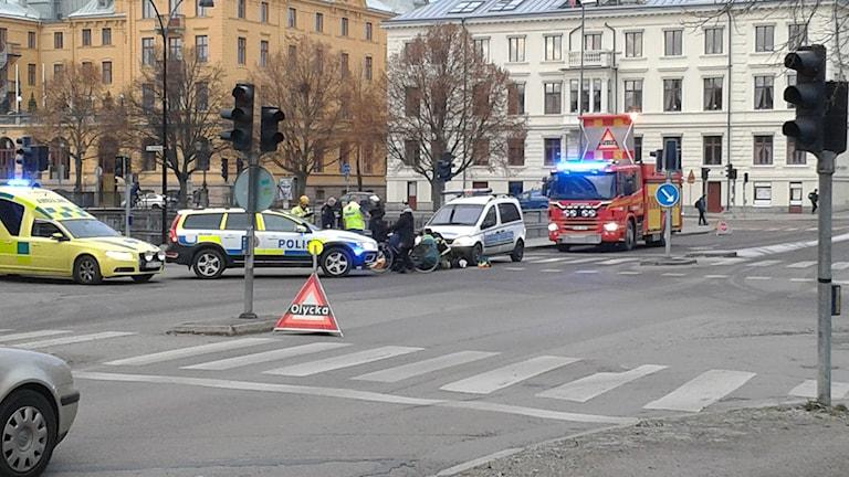 Olycka utanför polishuset i centrala Gävle.