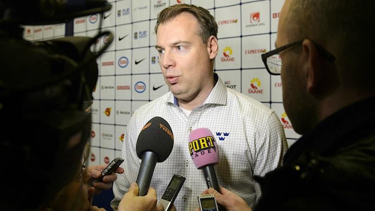 Förbundskapten Rikard Grönborg tog i dag ut truppen som innan VM ska åka på träningsläger, truppen ska bantas med tre spelare innan VM-starten. Foto: TT