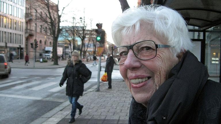 Anne-Marie Undén i Gävle gillar inte att bankfacken försvinner. Foto:Tomas Groop/ Sveriges Radio
