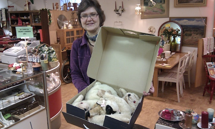 Gunilla Brodin, föreståndare för Missionskyrkans second hand affär i Ockelbo, med prins Daniels gosedjur.