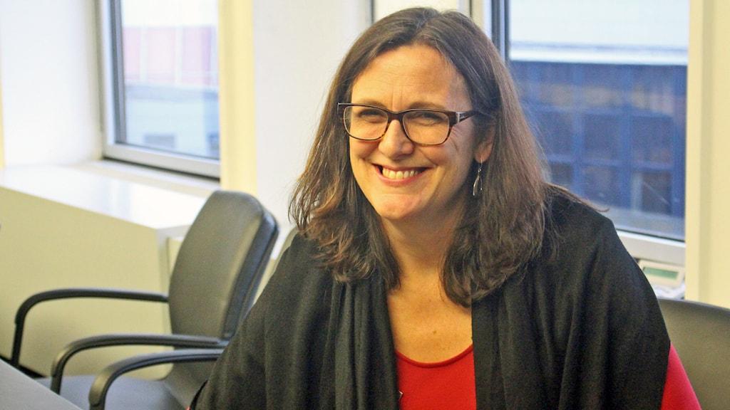 EU-kommissionären Cecilia Malmström (Fp). Foto: Linnea Johansson/Sveriges Radio.