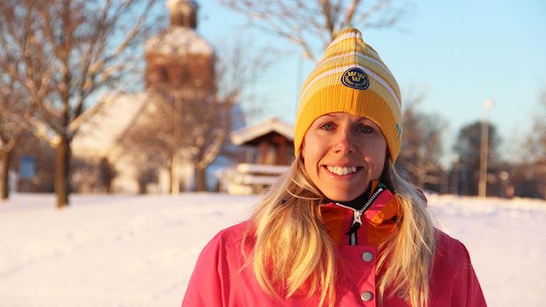 Golfproffset Pernilla Lindberg är hemma i Bollnäs för att fira jul. Foto: Magnus Hansson/Sveriges Radio