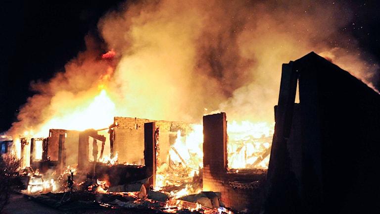 Endast en person dog i en brand i Gävleborg förra året. På bilden syns en radhusbrand i Åstorp. Foto: Andreas Olsson/ ao-media.se/TT.