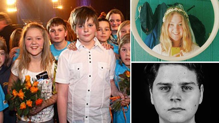 """Fredrika Andersson och Richard Leijon från när de tog hela """"Vi i femman"""" 2008 och i dag. Foto: Sveriges Radio."""
