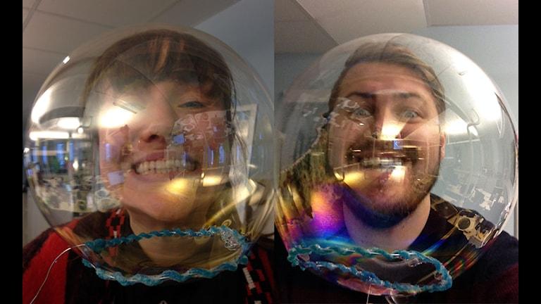 Doble bubble trouble i studion idag på morgonen.
