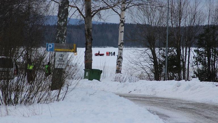 Kroppen hittades ett par hundra meter från småbåtshamnen på Bergviken. Foto: Magnus Hansson/Sveriges Radio