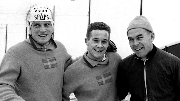 """Göran """"Dallas"""" Sedvall (till vänster) i landslagsdräkten. Foto: TT"""